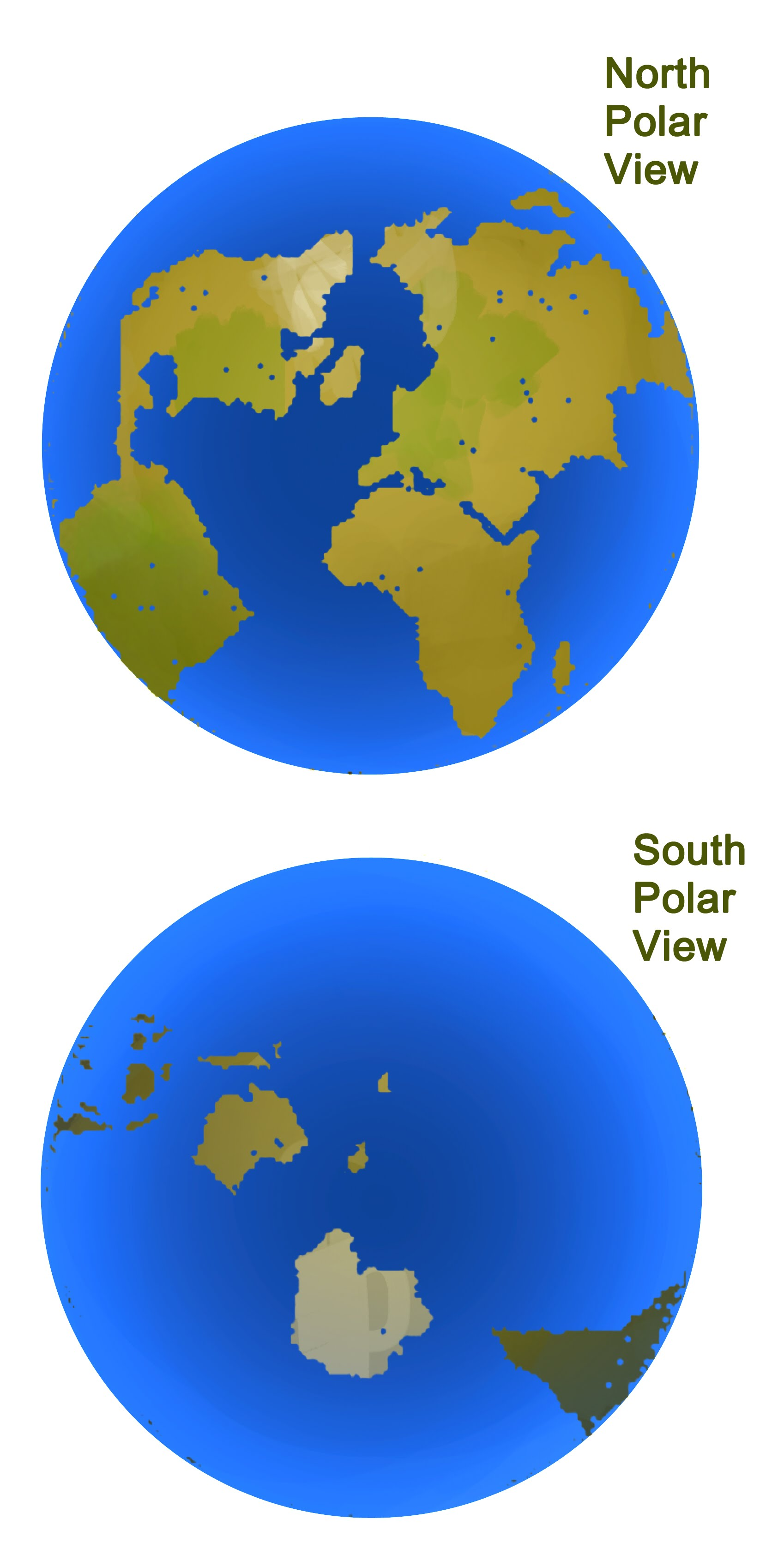 Views of the North and South poles
