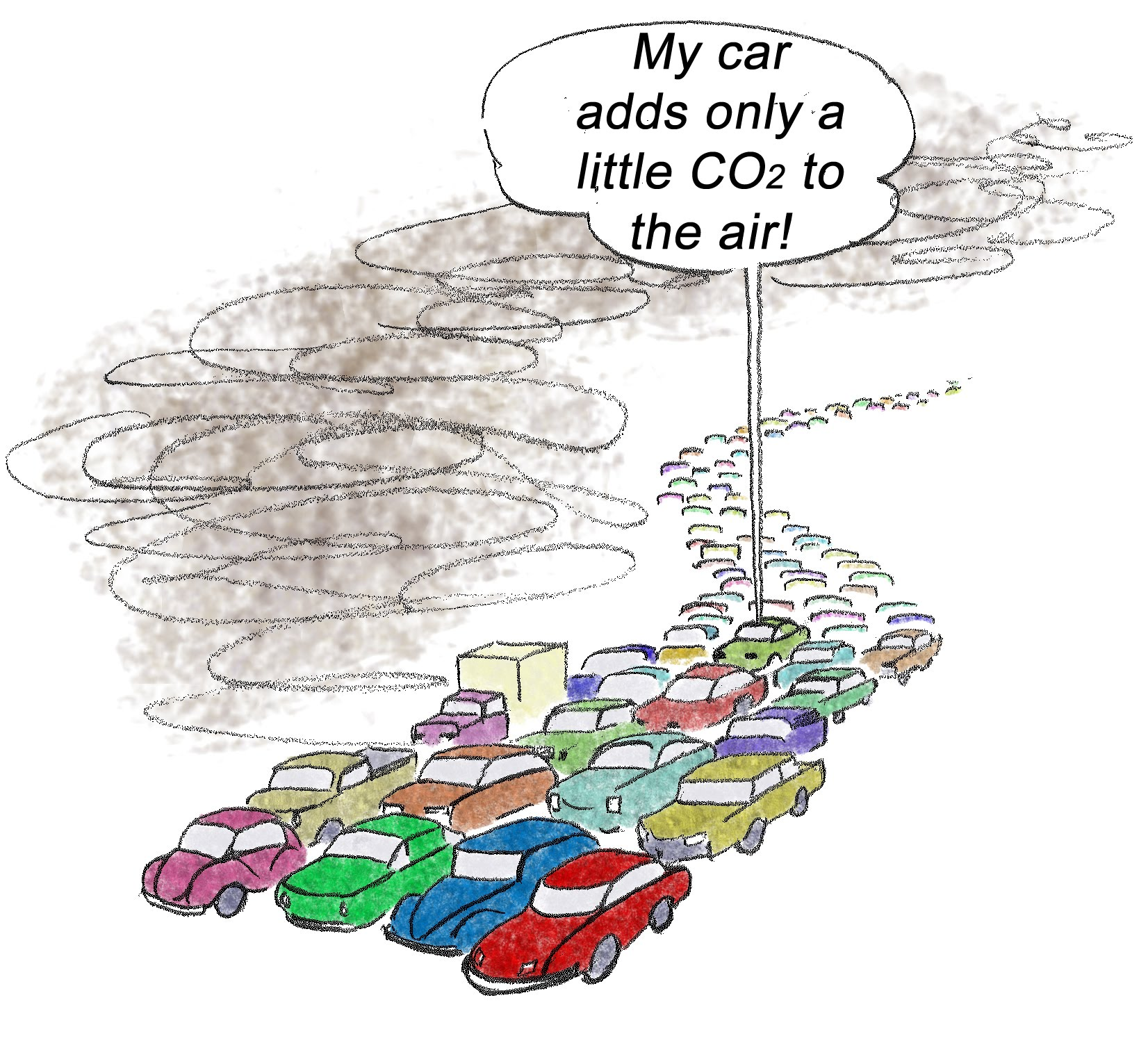 Cartoon with cars on freeway and balloon--my car adds only a little CO2 to the air