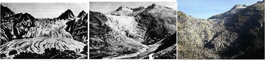 Changes to the Rhone glacier over time