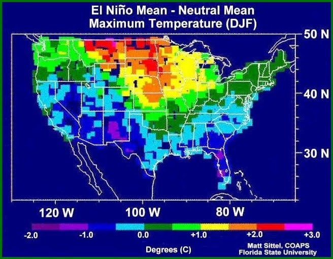 map showing man max temperature during neutral years and El Niño years