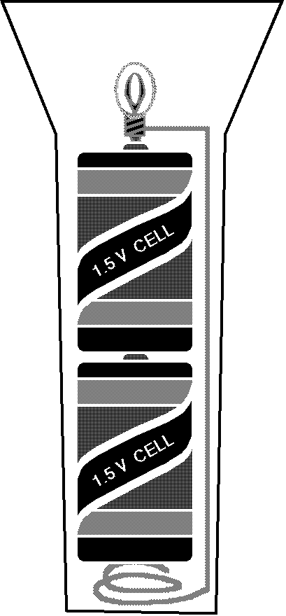 Flashlight with two cells