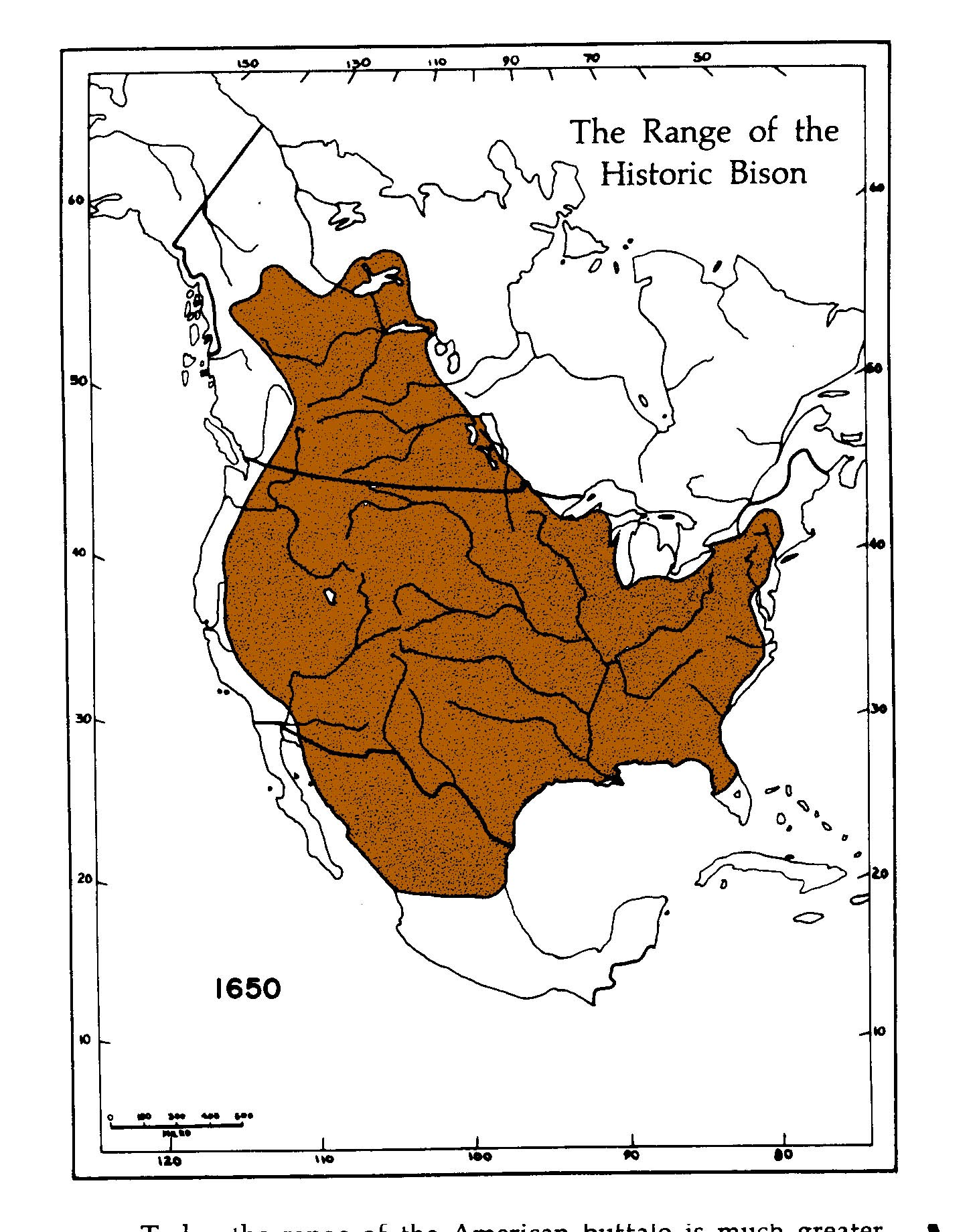 Bison range in 1650