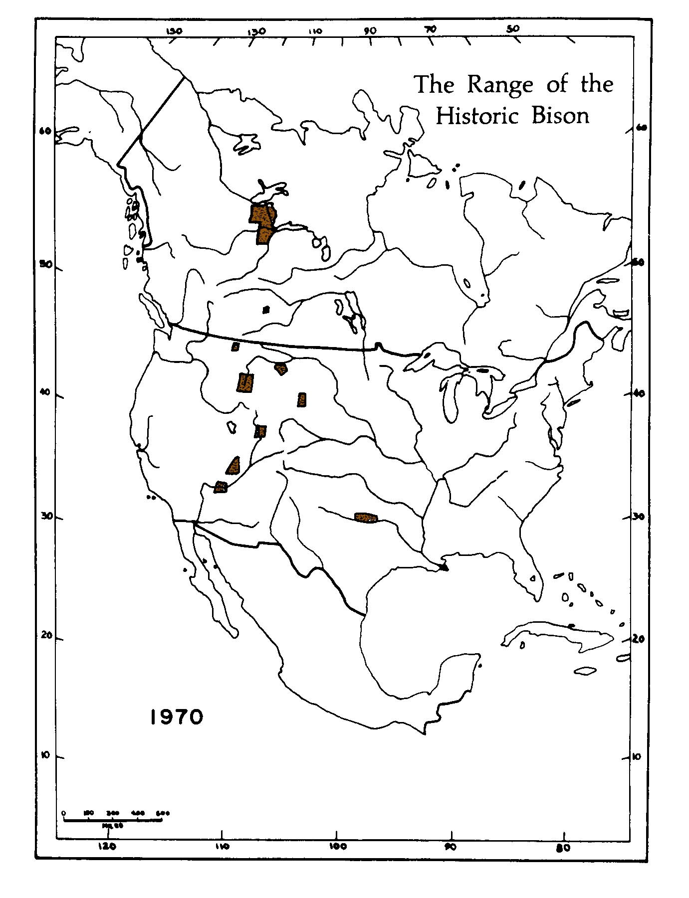 Bison range in 1970