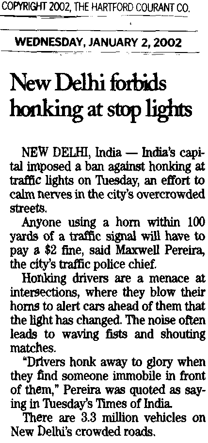 Short news article about traffic in India